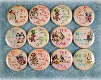 One Inch Alice in Wonderland Quotes Flatbacks, Pins, or Magnets 12 CT.