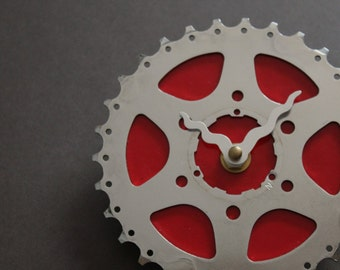 Bicycle Gear Clock - Bright Red | Bike Clock | Wall Clock | Recycled Bike Parts Clock