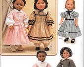 "Simplicity 1391 Civil War Dress Bonnet Jacket Apron Pantaloons 18"" Doll Clothes Sewing Pattern New UNCUT"