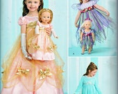 """Simplicity 1305 or 0797 Girls Dolls Costumes Frozen Elsa Fairy Princess and 18"""" American Girl Doll  Sewing Pattern Girls Sizes 3-8 UNCUT"""