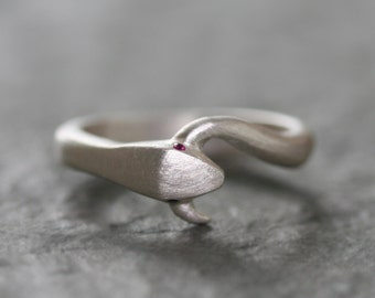 Large Snake Tail Ring in Sterling Silver with Gemstones