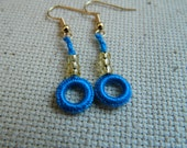 Blue and Gold Beaded Fibre Earrings  - Handmade earrings on Gold Plated Wires