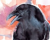Fiesty Crow Watercolor -- Print Of My Original Painting Raven Orange Black is Blue Kaw Colorful