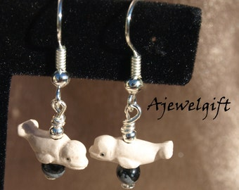 Gorgeous Beluga Whale with Obsidian Earrings 8017