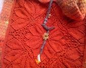 Vintage Kilim and Lace Red Burnt Orange Knit Satchel