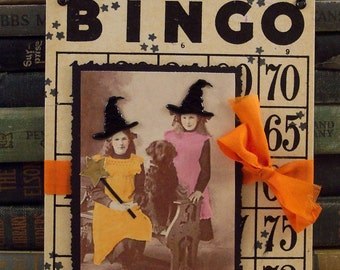 Two Witches and a Black Dog Halloween Wall Hanging - Altered Vintage Bingo Card - Mixed Media Collage Art - Halloween Decor - Witch Collage