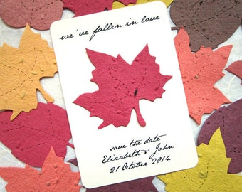 50 Fall Save the Dates Plantable Paper Wedding Invitations Favors and More - Fall Maple Leaf Seed Paper Cards - Printable Template