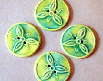 4 Handmade Stoneware Flower Buttons - Trillium Buttons in Spring Green