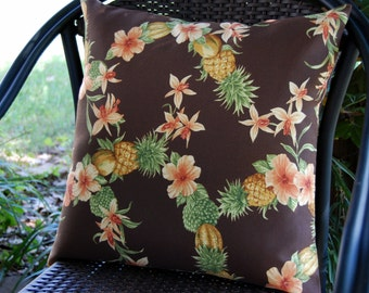 Tahitian Breeze Sun Porch Patio Pillow in Chocolate Brown / tropical pineapple pillow/ indoor outdoor / Caribbean beach house / Tommy Bahama