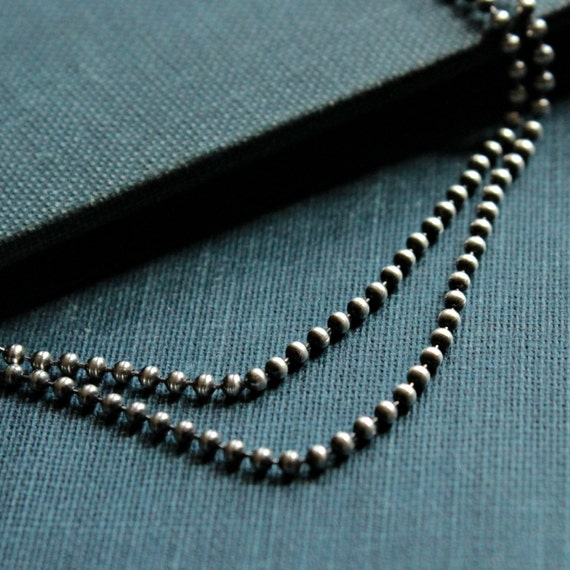 16inch Oxidized Sterling Silver Ball Chain - MODERN