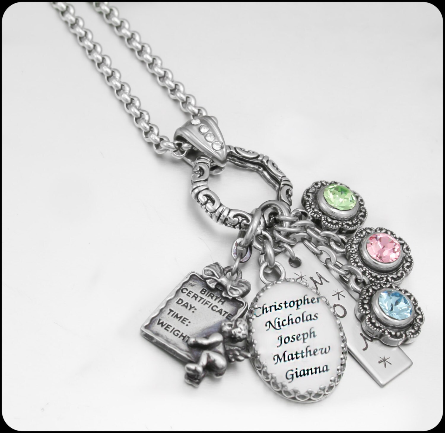 personalized mothers necklace birthstone by blackberrydesigns