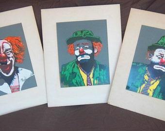 3 Vintage CLOWN Paintings by the artist PEERS-Emmett Kelly, Bozo the Clown