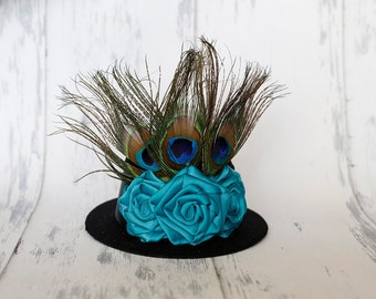 Peacock Passion - Black Mini Top Hat with Handmade Rosettes and Peacock Feathers, Photo Prop