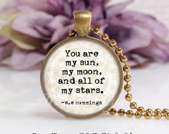 Round Medium Glass Bubble Pendant Necklace- You Are My Sun ee cummings Quote