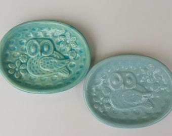 Ready To Ship   Blue on Right  Owl Trinket Dish Tea Bag Holder Jewelry Dish  Aqua Soap Dish Owl Home Decor Gift