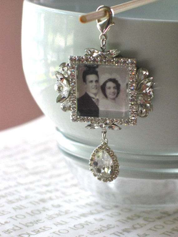 memory wedding bouquet photo charm bridal bouquet charm swarovski crystal memory photo charm