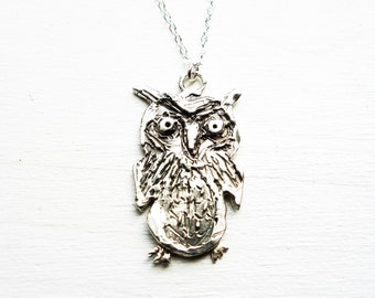 Mischievous Owl- Large Sterling Silver Owl Pendant