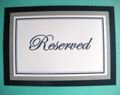Two 5x7 Flat Wedding Reserved Table Paper Signs in Navy Blue and White and Silver  -READY TO SHIP