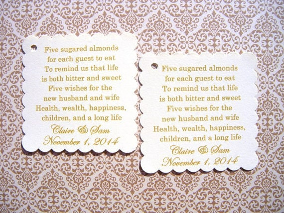 100 Custom Printed Jordan Almond Wedding Favor Tags On Cream