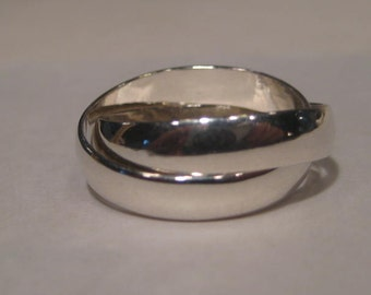 2 Band Rolling Ring ... Sterling Silver ... Each Band is 4 mm Wide