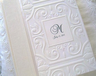 White & Ivory Monogram Wedding Photo Album