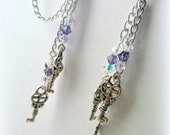 Steampunk Key Chandelier Cartilage Chain Earrings with Lavender Swarovski Crystals