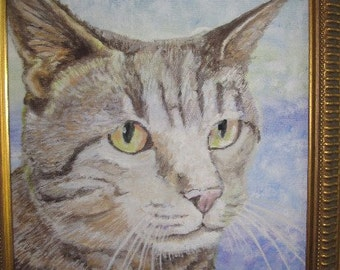 Framed Pet Portraits painted in Casein paint