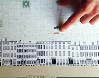 PHILADELPHIA (Art Print) Clinton Street Streetscape Architectural City Map Philly Decor Pennsylvania Wedding Gift Housewarming Realtor