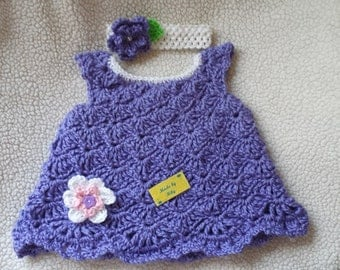 Crocheted sweet little dress for baby girls 0-3 months  with coordinated headband
