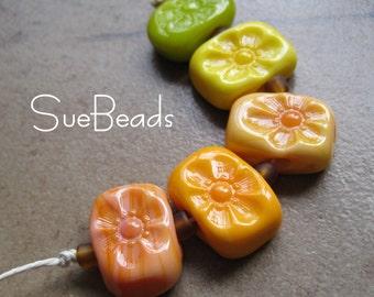 Lampwork Beads - SueBeads - Melon Flower chicklet bead set - Handmade Lampwork Beads - SRA M67