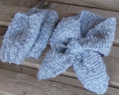 hand knitted fingerless gloves and matchin lotus leaf neck scarf set