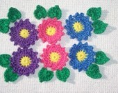 6 crochet applique flowers with leaves  --  1816