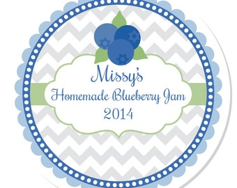 Personalized Labels -- Blueberry Jam -- Personalized Preserves Labels, Canning Labels, Personalized Labels -- Choice of Size