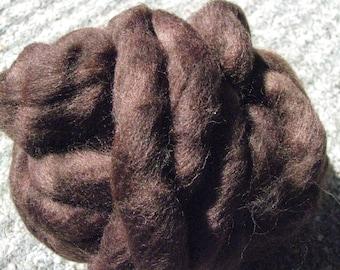 8 oz Dark Brown, Mill End Wool Roving
