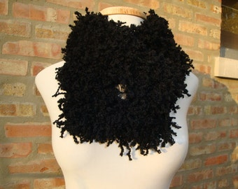 Black Fuzzy Neckwarmer, Scarf, Cowl - Fun Funky and Functional