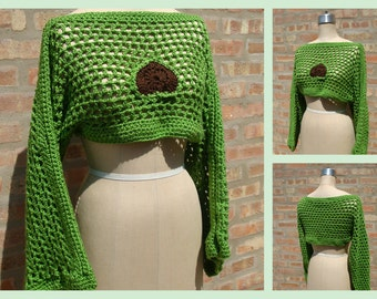 Bright Green  Crochet Pullover Shrug -Summer Top - Acrylic