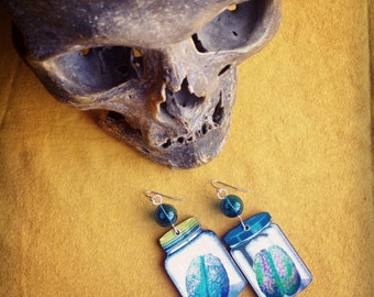 Brains in mason jars earrings