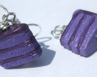 Cake Earrings purple decorated layer cake from Peru pierced dangle hand made wire wrapped earrings