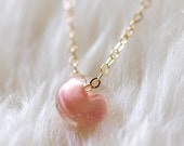 kerry in blush - gold and glass necklace by elephantine