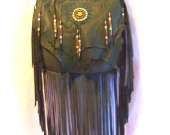 "Designer Leather Purse ""MY PRECIoUS"" COMICON Fringe Handbag Artisan Hippie Retro Beaded Bag Handmade by Debbie Leather"