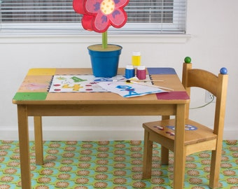 """Splat Mat/Tablecloth """"Algae Cell Structure"""" - Laminated Cotton BPA  & PVC Free - Choose Your Size below!"""