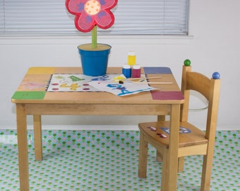 "Splat Mat/Tablecloth ""Blue Lanterns"" - Laminated Cotton BPA  & PVC Free - Choose Your Size below!"