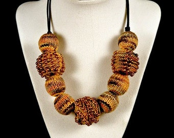 Brown Mix and Copper Knitted Bead Necklace