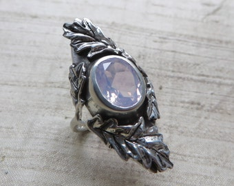 Lavender Moon Quartz and Sterling Silver- The Oak Leaf Ring