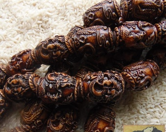 Carved Coral Strand, 30 mm, Phoenix/Fenghuang and Dragon, China, Item JE27