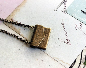 love letter necklace. brass ox
