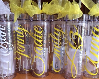 Set of 6:  Personalized Bride, Bridesmaid, Flower-girl,  Mother of Bride, Mother of the Groom tumbler bridal party gifts