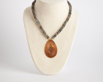 Etched Russian Vintage Playing Card Copper Pendant on Labradorite Gemstone Necklace