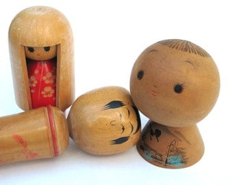 Three Japanese Kokeshi Dolls Vintage Wooden Dolls Japan Different Styles