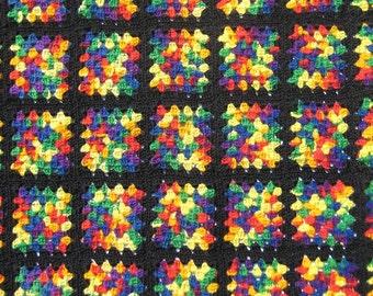 Vintage Granny Square Blanket Handmade Afghan 176 Squares Classic Black